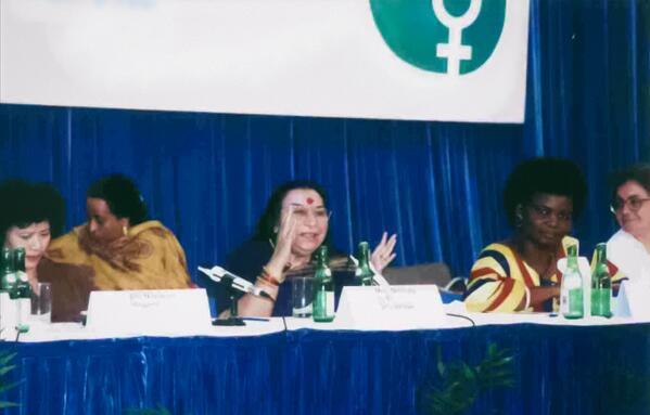 Šrí Mátadží na 4. konferenci o ženách